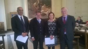 Il geometra Monica, il sindaco Bianco, l'architetto Condorelli e l'assessore D'Agata