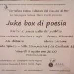 Juke box di poesia nel cartellone di Bari anche con A.N.A.S. Italia