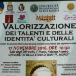 valorizzazione dei talenti delle identità culturali 17 novembre Bari