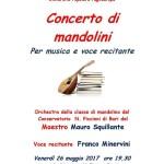 Bari: in programma il concerto di mandolini per musica e voce recitante