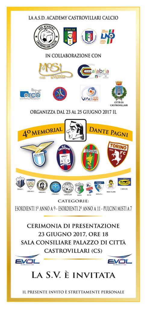 """Calabria: a Castrovillari tutto pronto per ospitare il IV Memorial """" Dante Pagni"""", Torneo di Calcio Giovanile"""