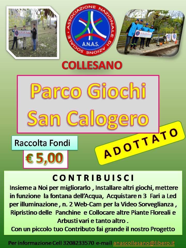 """Anas Collesano organizza una Raccolta Fondi a sostegno del Progetto """"Parco Giochi San Calogero"""""""