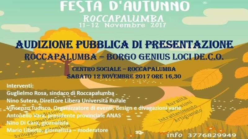 """Roccapalumba (PA): l'11 e 12 novembre la I edizione della """" Festa D'autunno"""" , tra gli ospiti anche Antonello Vara, presidente ANAS provinciale"""
