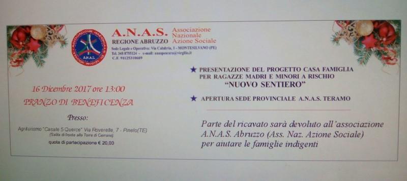 """Anas regionale Abruzzo organizza per il 16 dicembre un """"pranzo di beneficenza"""", il cui ricavato sarà devoluto all'Associazione per sostenere le famiglie bisognose"""