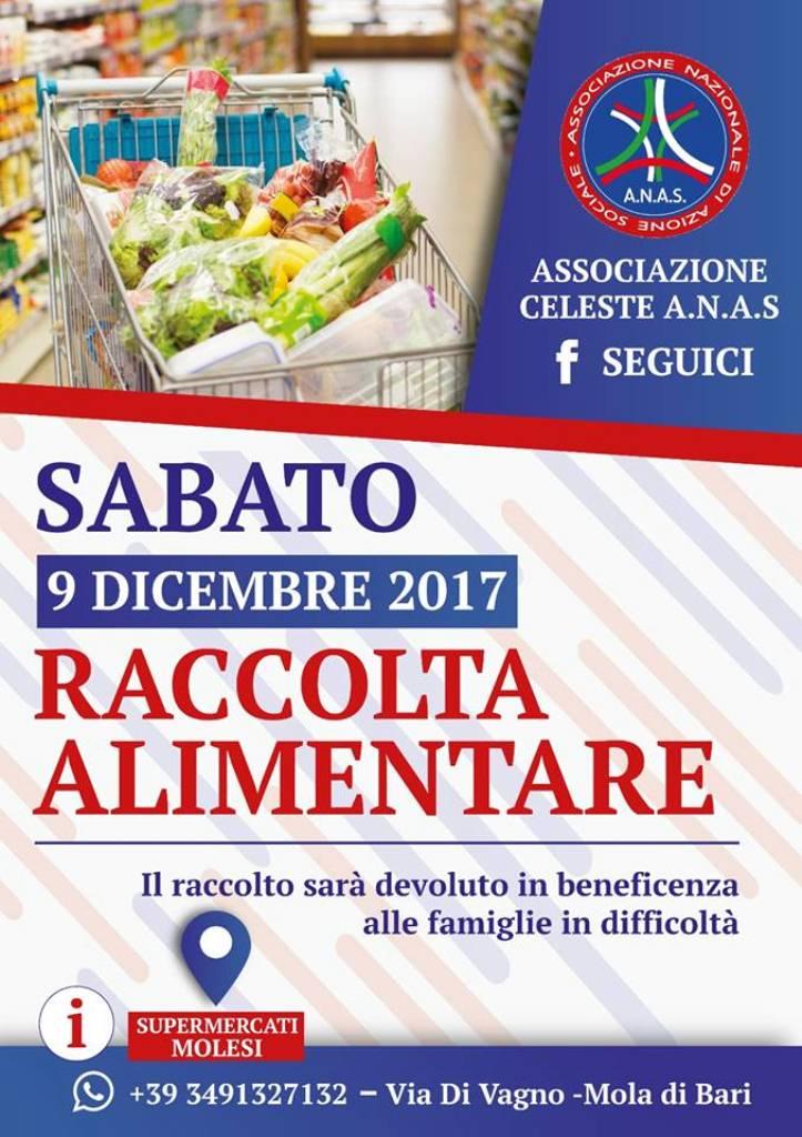 L'Associazione A.N.A.S. Celeste, in occasione delle festività, promuove una RACCOLTA ALIMENTARE a sostegno delle persone bisognose