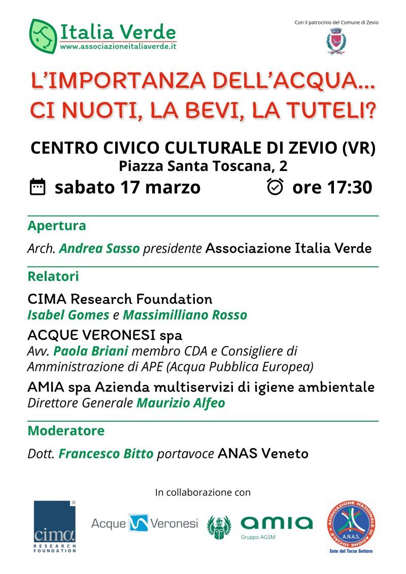 """Anas Veneto, """"L'IMPORTANZA DELL'ACQUA... CI NUOTI, LA BEVI, LA TUTELI?"""": questo il titolo del convegno che si terrà sabato 17 marzo a Verona"""