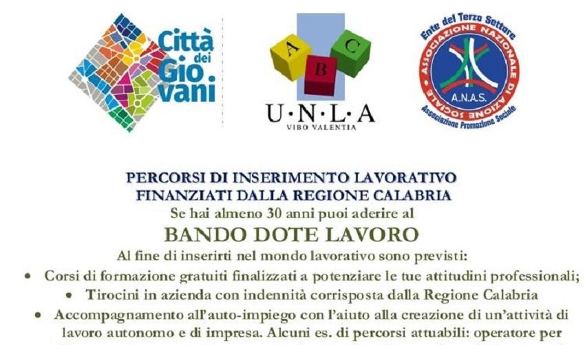 Percorsi di inserimento lavoro regione Calabria bando DOTE lavoro