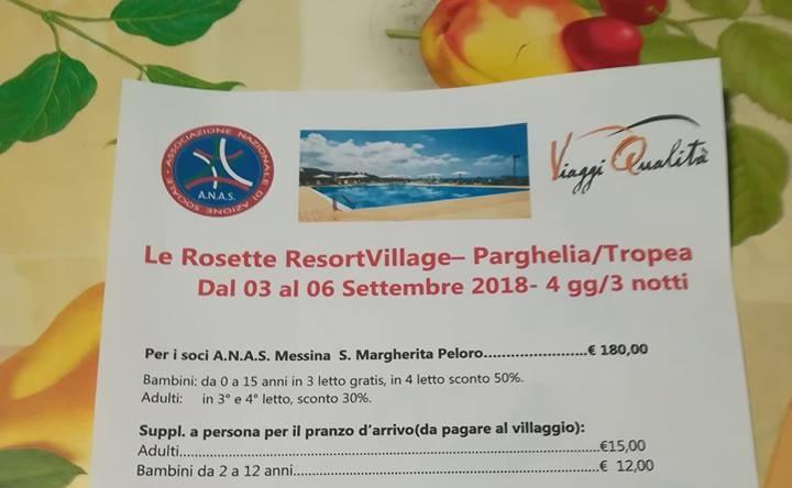 ANAS  S. Margherita organizza un viaggio di relax a Tropea per i soci