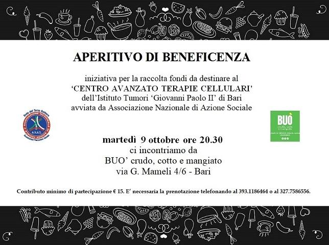 Aperitivo di beneficenza con ANAS Puglia il prossimo 9 ottobre presso il locale Buò Crudo, cotto e mangiato
