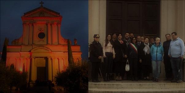 Il Comune di Villafranca tinge di rosa la chiesa di Dossobuono per A.I.R.C., A.N.A.S. e mondo scuola lo affiancano.