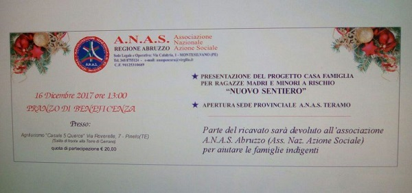Pranzo di beneficenza organizzato da ANAS Abruzzo per il prossimo 16 dicembre