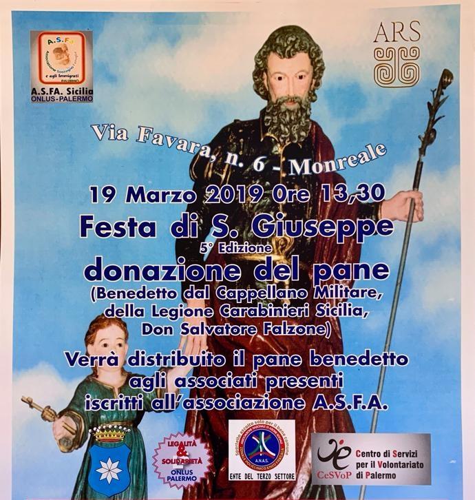 Festa di San Giuseppe a Monreale il prossimo 19 marzo alle ore 13,30