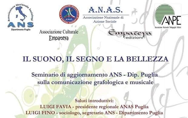 Il suono, il segno e la bellezza è il titolo del seminario organizzato a Bari con ANAS Puglia