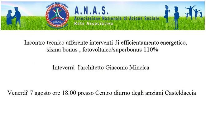 Risparmio energetico sisma bonus e superbonus ne parla ANAS Sicilia a Casteldaccia